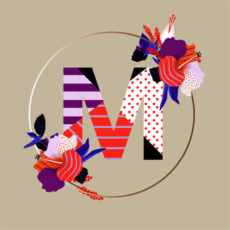 """Modern Alphabet big """"M"""" font made from popart pattern patchwork strope and polka dots ,popart florals with circle silhouette Vector Design for fashion, fabric, tshirt,invitations ,decoration , and all graphic type in beige."""