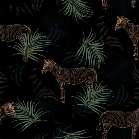 Dark tropical safari with line zebra in the jungle seamless pattern in vector ,Design for fashion, fabric, web,wallpaper,wrapping and all prints on black.