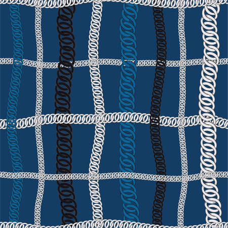 Seamless pattern of Chain vector white,blue,and black chain in grid window check illustration set of chaining string and necklace design for all prints on dark blue background color  イラスト・ベクター素材