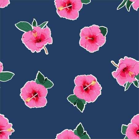 Fresh pink hibiscus flower ,Hawaiian tropical natural floral seamless pattern ,Design for fashion ,textile,fabric, web,wallpaper,wrapping and all print on dark blue background color