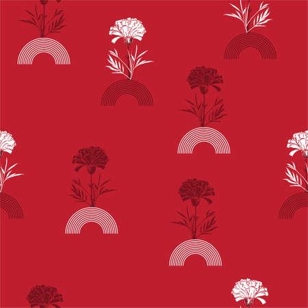 Modern hand drawn carnation flower with Geometric half circle striped seamless pattern vector