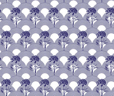 Modern hand drawn carnation flower with Japanese wave seamless pattern vector