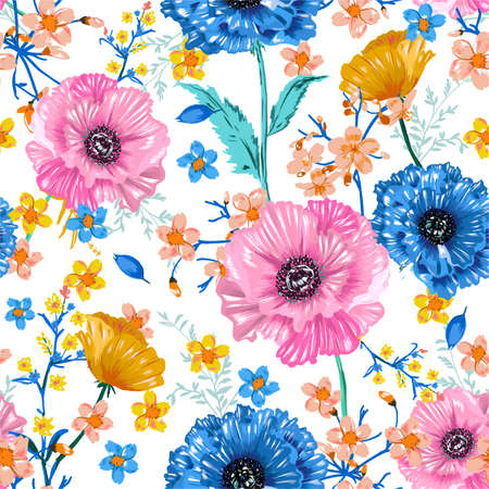 Soft and fresh blooming sweet garden flower colourful blossom floral botanical seamless pattern vector