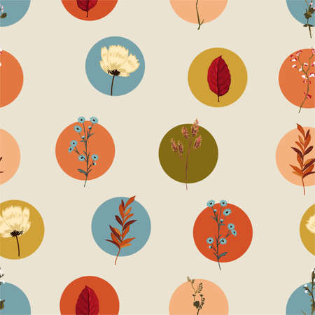 Colorful geometric circle with botanical and wild floral retro style seamless pattern  イラスト・ベクター素材