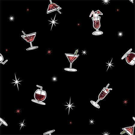 Stylish summer cocktail drinks seamless pattern