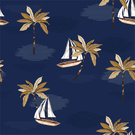 Beautiful sailboat ,palm tree on the modern wave sea ocean vector seamless pattern background  イラスト・ベクター素材