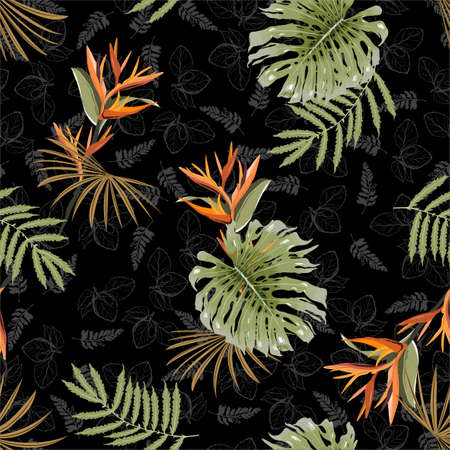 Trendy seamless pattern exotic tropical exotic flower,plants and leaves layer on hand drawn leaves background