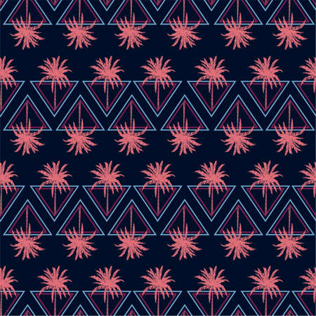 Modern Abstract summer triangle geometric line with pink palm tree seamless pattern