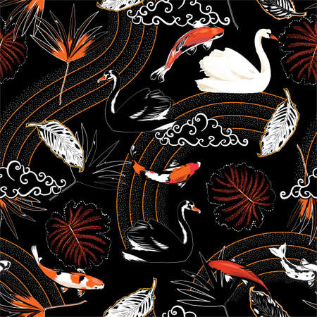 Beautiful Japanese pattern oriental mood with animal Koi fish, swan,wave and leaves chinese cloud seamless pattern  イラスト・ベクター素材