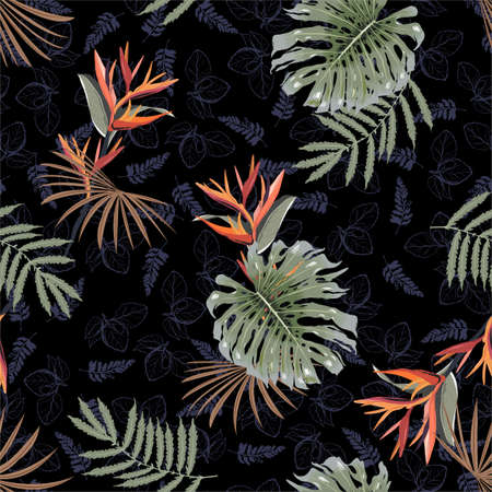 Hand drawn Tropical floral seamless vector pattern on rainforest leaves background tonal with exotic plants and flowers