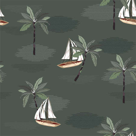 Vintage sailboat in the ocean modern dots wave with palm tree seamless pattern