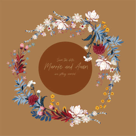 Vector Blooming floral round banner with different kind of garden flowers. Romantic luxurious mood and tone design for Card,wreath ,Wedding invitations ,web banner,natural cosmetics, women products cover, and all graphic type. Ilustração