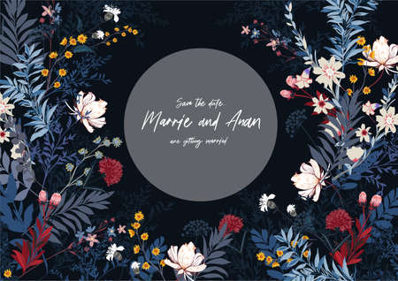 Vector Dark floral horizontal banner full different kind of garden flowers. Romantic luxurious mood and tone design for Card ,Wedding invitations ,web banner,natural cosmetics, women products cover, and all graphic type.