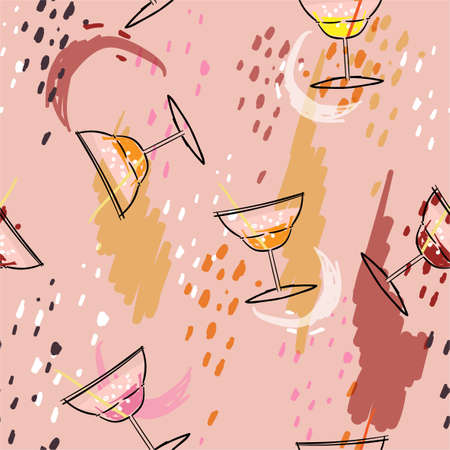Trendy hand sketch Summer cocktail with colorful paint brushed stroke seamless pattern vector ,Design for fashion ,fabric,web,wallpaper,wrapping and all print on light pink bckground color Stock Illustratie
