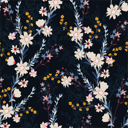 Seamless floral pattern in the night garden with different kind of flower ,Design for fashion,fabric,textiles,wallpaper,wrapping and all prints on navy blue background color