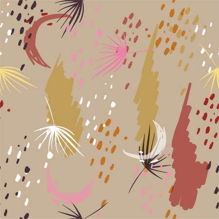 Modern Abstract vector creative seamless pattern with Colorful brush strokes and dots Design for fashion,fabric,web,wallpaper,wrapping ,printing brochure, poster, card, print, textile,magazines,on beige background color