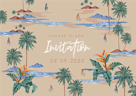 """Card and banner summer island design with wording """" Sumer island invitations """" illustration plam tree ,wave,mountain, boat vector EPS10 ,Design for invitations, Card, signage, banner ,background,cover and all graphic type"""