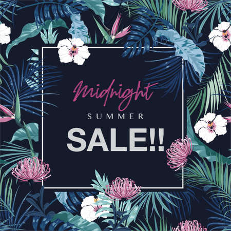 Midnight Summer SALE ,Wedding invitation or card and banner design with exotic dark tropical and flowers and leaves on navy blue background color