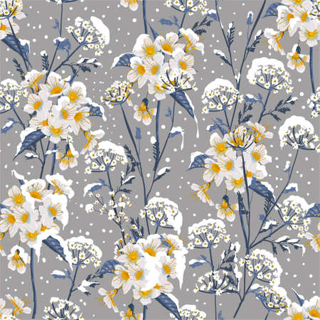Beautiful winter flower blooming in the snow delicate floral seamless pattern vector EPS10 ,Design for fashion, fabric, textile,web,wallpaper, wrapping and all prints on winter grey background color