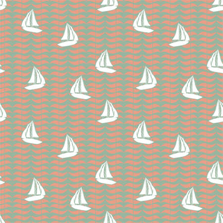 Retro silhouette of sailor Boat on geometric ocean wave background seamless pattern vector,Design for fashion , fabric, textile, wallpaper, cover, web , wrapping and all prints on vintage green background