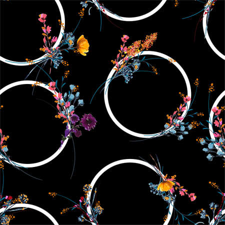 Styilsh hand drawn and painted mewdow floral with geometric circle seamless pattern vector,Design for fashion , fabric, textile, wallpaper, cover, web , wrapping and all prints on black Ilustracja