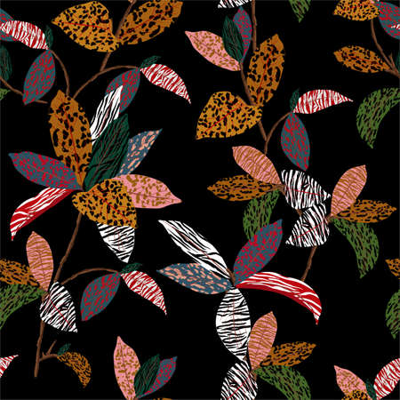 Exotic plant fill in with animal skin,leopard,cheetah,zebra and tiger prints in the wild jungle mood ,Design for fashion , fabric, textile, wallpaper, cover, web , wrapping and all prints on black Ilustracja