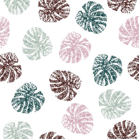 Abstract line in silhouette of tropical monstera leaves seamless patterns in vector ,Design for fashion , fabric, textile, wallpaper, cover, web , wrapping and all prints on white Ilustracja