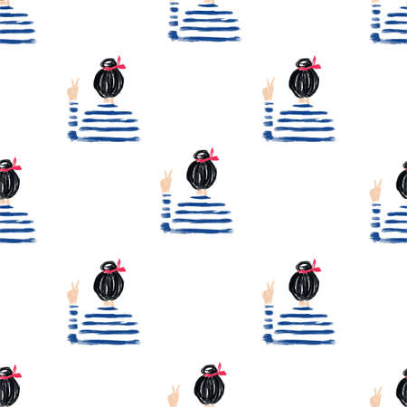 Seamless pattern Hand drawn and painted a Nautical girl on stripe shirt fighting in vector,Design for fashion , fabric, textile, wallpaper ,T-Shirt, cover, web , wrapping