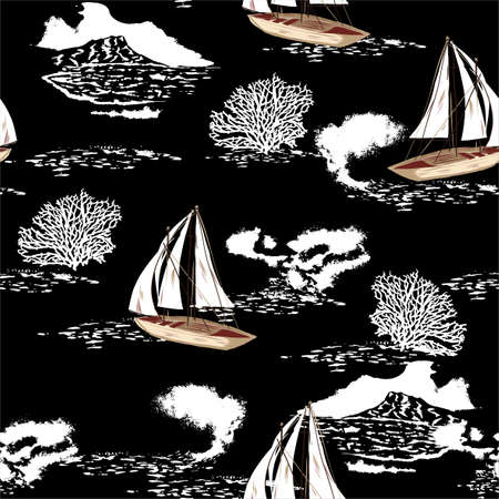 Stylish hand drawn sea boat,ship,waves sailing in the ocean  wih white corals seamless pattern vector,Design for fashion , fabric, textile, wallpaper, cover, web , wrapping and all prints on black
