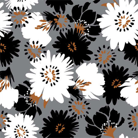Sealess pattern Hand drawn Artistic bloomimg floral white,Brown ,black om light grey background ,Design for fashion , fabric, textile, wallpaper, cover, web , wrapping and all prints