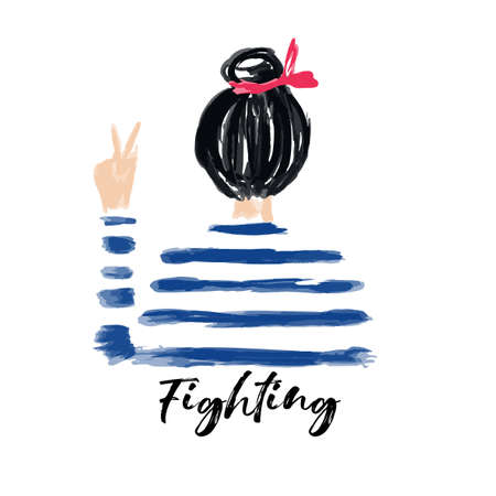 Hand drawn and painted a Nautical girl on stripe shirt fighting in vector,Design for fashion , fabric, textile, wall-art,T-Shirt, cover, web , wrapping and all prints Ilustracja