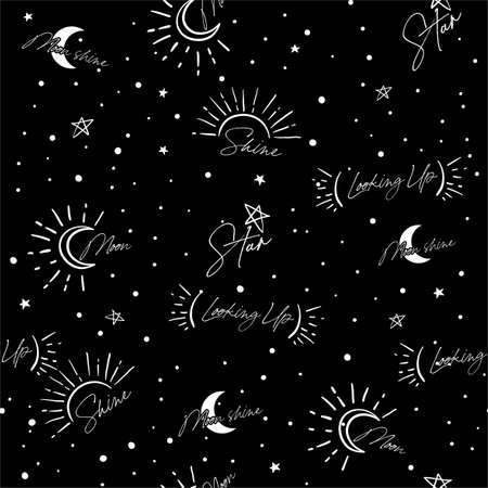 Cute seamless vector of the night sky with stars and galaxies mix with cute wording typography ,Design for fashion , fabric, textile, wallpaper, cover, web , wrapping and all prints on black Ilustracja