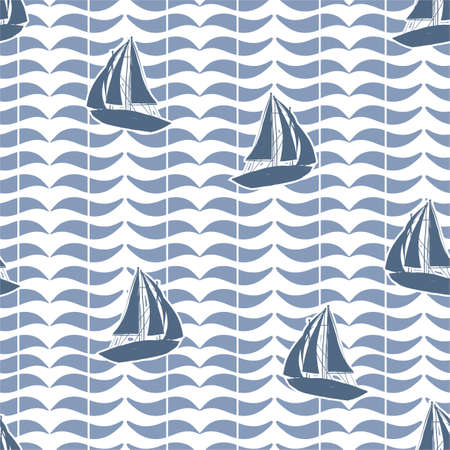 Minimal silhouette of sailor Boat on geometric ocean wave background seamless pattern vector,Design for fashion , fabric, textile, wallpaper, cover, web , wrapping and all prints