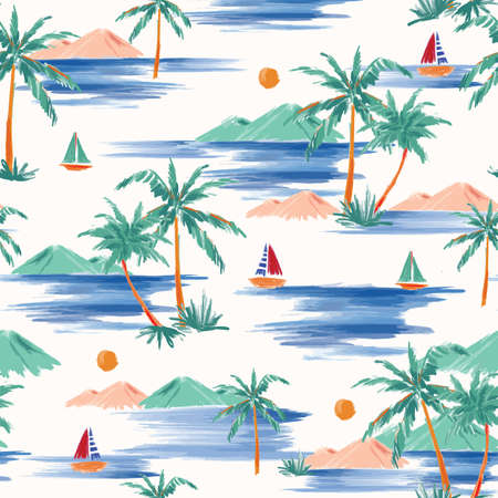 Stylish Hand painted and drawn summer island palm tree ,ocean ,wave ans boat seamless pattern vector,Design for fashion , fabric, textile, wallpaper, cover, web , wrapping and all prints Ilustracja