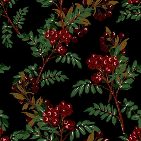 Hand painted illustration of red cherries  flowering tree with brushed sketch,  seamless pattern on black  Design for fashion , fabric, textile, wallpaper, cover, web , wrapping and all prints Zdjęcie Seryjne
