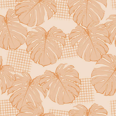 Modern hand drawn tropical monstera leaves seamless pattern vector,Design for fashion , fabric, textile, wallpaper, cover, web , wrapping and all prints on light beige background color Ilustracja