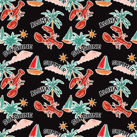 Seamless pattern summer tropical island of mediterranean with lobster Sea,Sun ,palm trees,boat, Design for fashion fabric,wallpapre,webpage on black in hand drawn style.