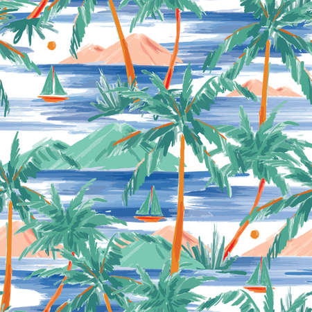 Beautiful Hand painted and drawn summer island palm tree ,ocean ,wave ans boat seamless pattern vector,Design for fashion , fabric, textile, wallpaper, cover, web , wrapping and all prints Ilustracja