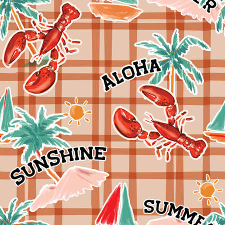 Tredy hand drawn Funny Beach island ,lobster ,oceans summer elements layer on line check seamless pattern ,Design for fashion , fabric, textile, wallpaper, cover, web , wrapping and all prints
