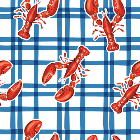 Trendy hand drawn lobster with electric blue check seamless pattern vector in summer vibes,Design for fashion , fabric, textile, wallpaper, cover, web , wrapping and all prints Vecteurs