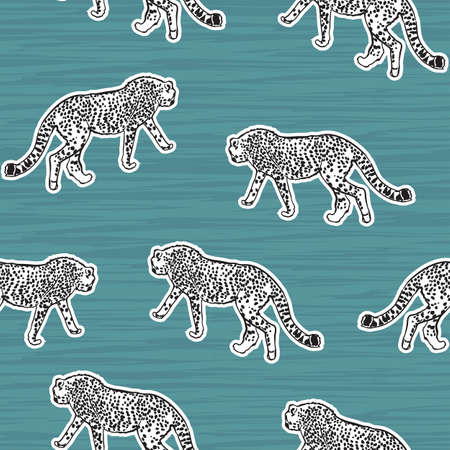 Trendy cheetah , Leopard animal safari Seamless pattern Vector hand drawn cool style on texture,Design for fashion , fabric, textile, wallpaper, cover, web , wrapping and all prints on light green mint