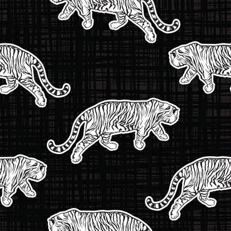 Trendy Tiger safari Seamless pattern Vector hand drawn cool style on texture,Design for fashion , fabric, textile, wallpaper, cover, web , wrapping and all prints on black