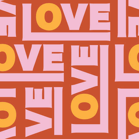 Colorful retro mood of Love typography seamless pattern vector Design for fashion , fabric, textile, wallpaper, cover, web , wrapping ,Valentines day and all prints on vintage dark orange