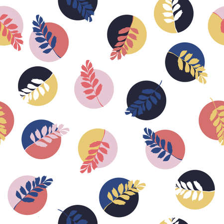 Colorful geometric round circle with silhouette leaves seamless pattern vector ,Design for fashion , fabric, textile, wallpaper, cover, web , wrapping and all prints on white