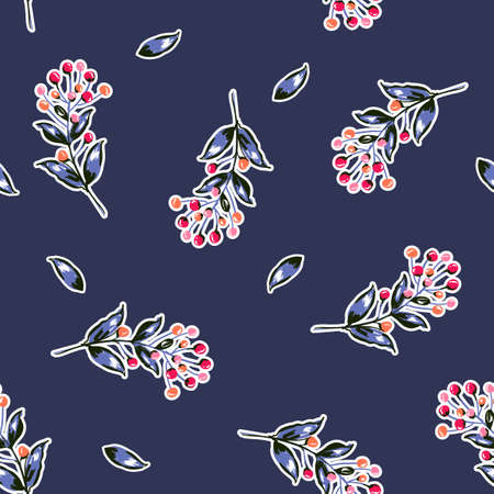 Hand drawing colourful berries botanical seamless pattern vector,Design for fashion , fabric, textile, wallpaper, cover, web , wrapping and all prints on dark blue background color