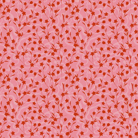 Pink Modern Silhouette small floral layer on hand drawn free form background seamless pattern ,Design for fashion , fabric, textile, wallpaper, cover, web , wrapping and all prints