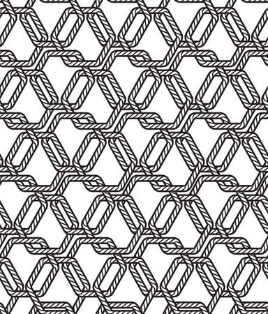Black and white Marine rope knot pentagon shape seamless pattern. Illustration nautical vibes,Design for fashion , fabric, textile, wallpaper, cover, web , wrapping and all prints