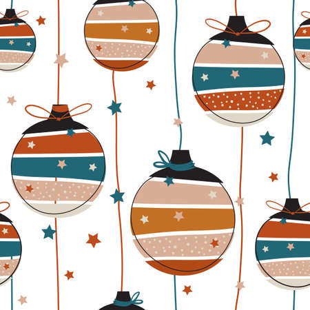 Hand drawn Seamless pattern. Christmas ball ornament Decor seamless pattern vector ,Design for fashion , fabric, textile, wallpaper, cover, web , wrapping and all prints on white