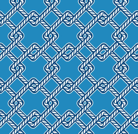 Blue and white Marine rope knot square geometric shape seamless pattern. Illustration nautical vibes,Design for fashion , fabric, textile, wallpaper, cover, web , wrapping and all prints on light sky blue