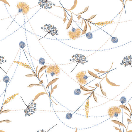 Bloomign botanical floral winter mood and tone with crystal line rope seamless pattern ,Design for fashion , fabric, textile, wallpaper, cover, web , wrapping and all prints on white 矢量图像